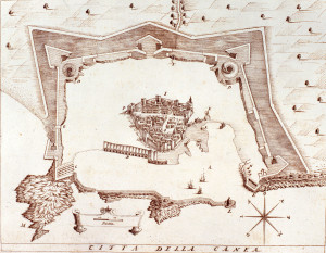 A historical map of Venetian era Chania old town & port, the location of Domus Renier Boutique Hotel