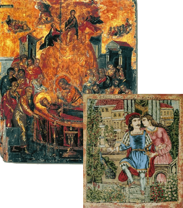 Dormition of the Virgin by Cretan artist El Greco & painting from the romantic play Erotokritos