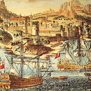 Paintings of ships in sea from around the same period as the Renier townhouse in Chania was built.
