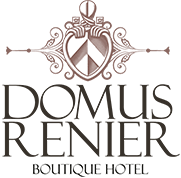 The logo for Domus Renier Boutique Hotel in Chania old town harbour, on the island of Crete