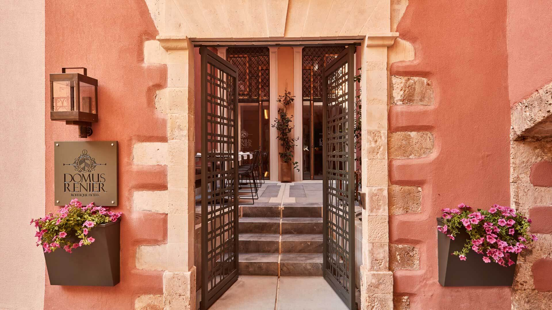 The entrance gate & historic archway to the Domus Renier Boutique Hotel in Chania old town