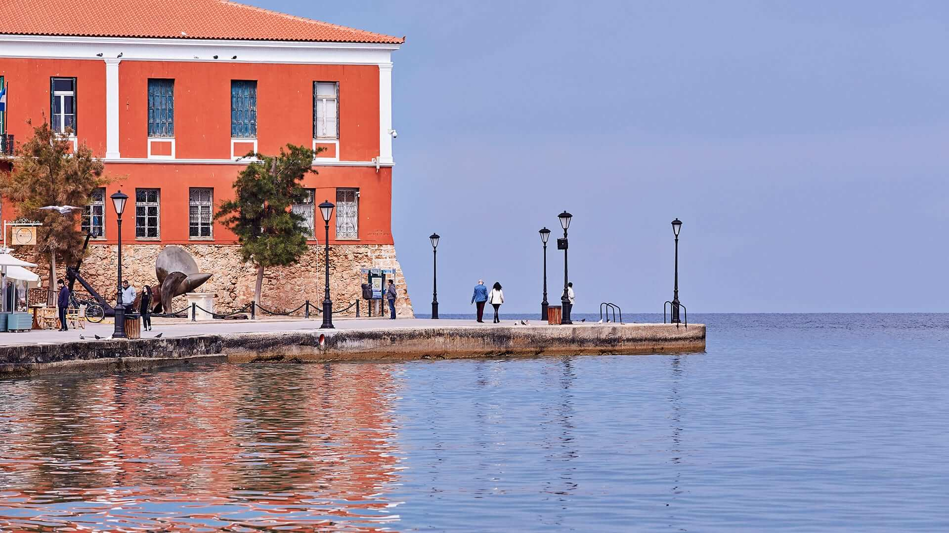 View of the Western side of Chania old town harbour, the location of the Domus Renier Boutique hotel