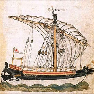 A Venetian ship at sea. The Venetian Renier townhouse in Chania is now the Domus Renier Hotel
